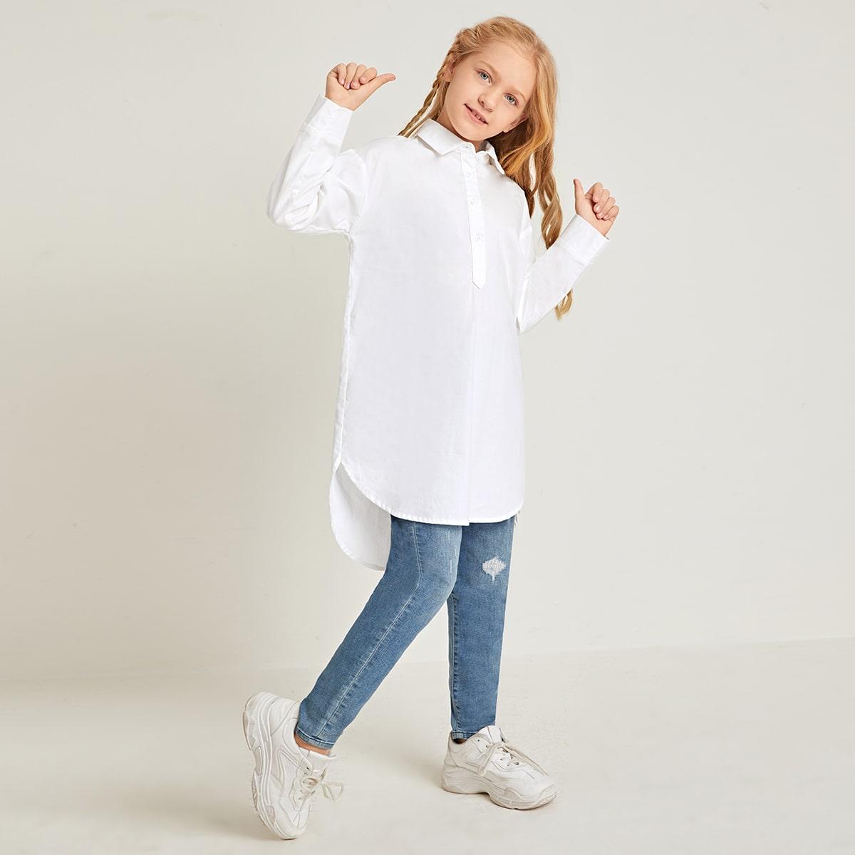 SHEIN / Bluse mit Kragen, Knöpfen vorn und abfallendem Saum