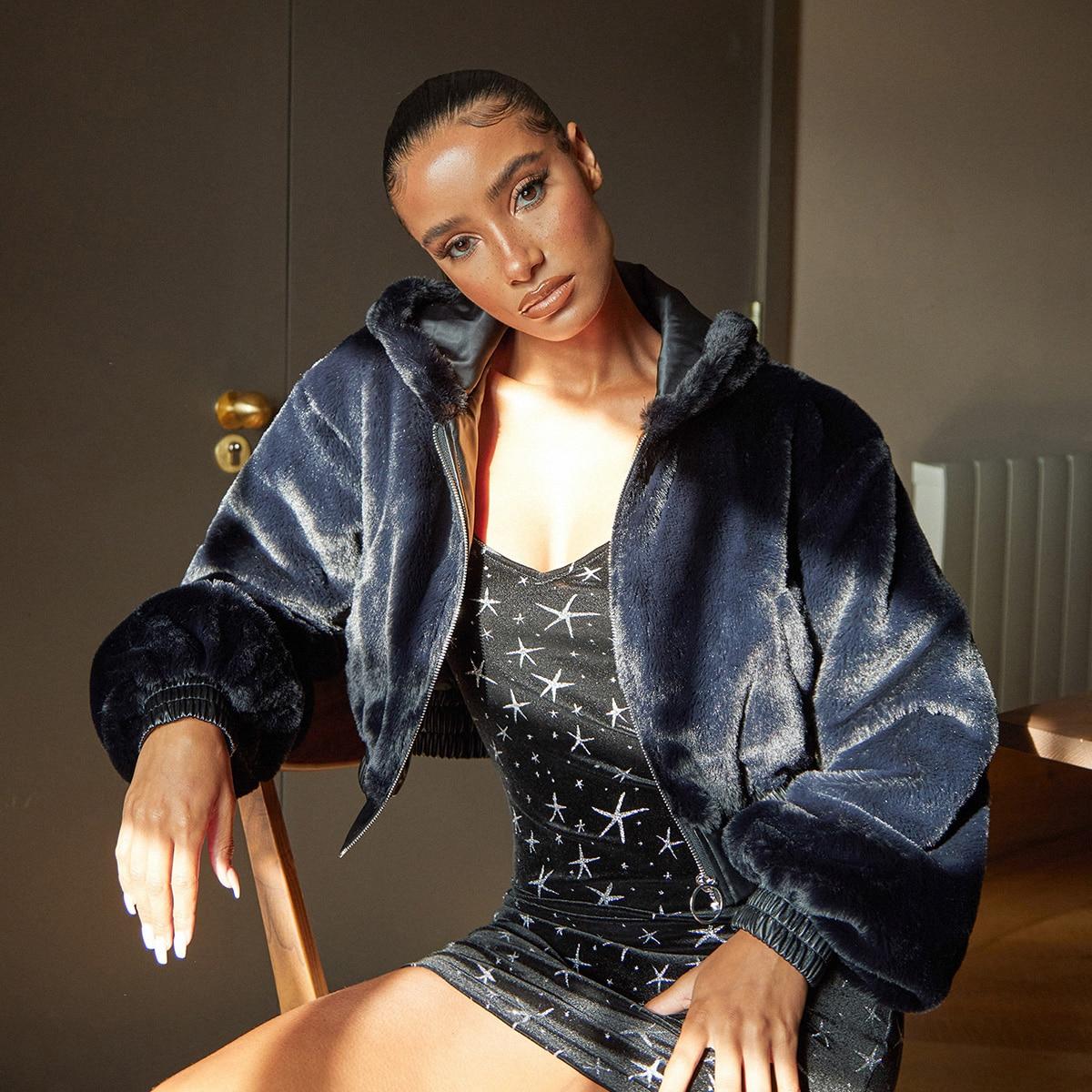 Пальто из искусственного меха с молнией