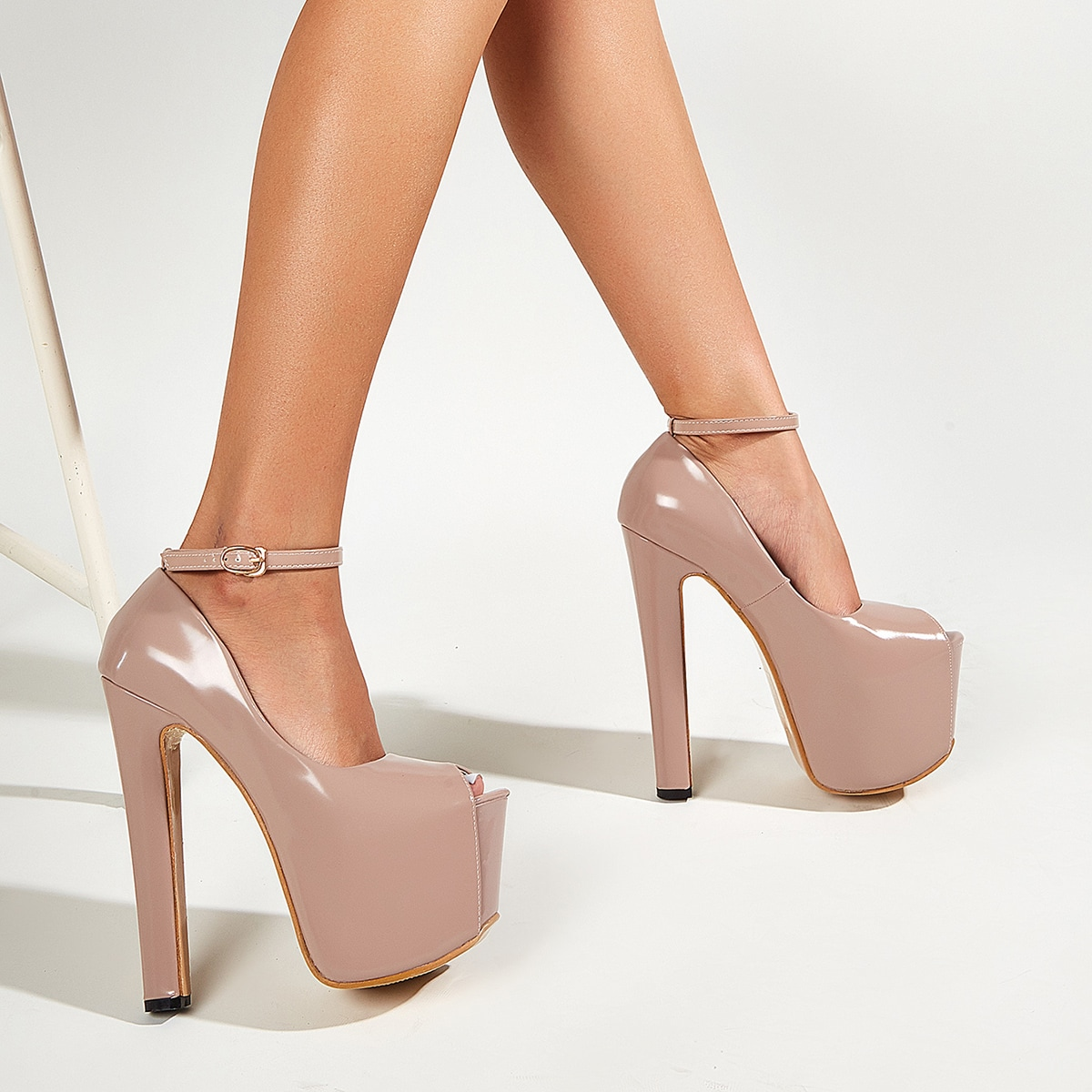 SHEIN / Peep Toe Ultra High Heeled Ankle Strap Platform Pumps
