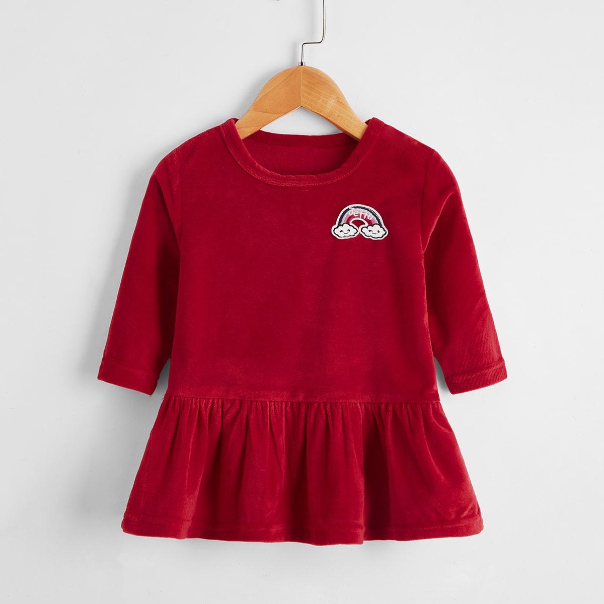 shein Casual Spotprent Baby-jurk Borduurwerk