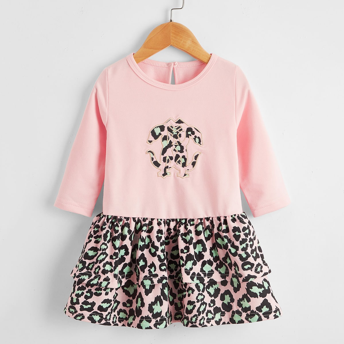 shein Casual Grafisch Baby-jurk Knoop
