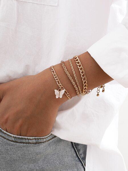 4pcs Butterfly Charm Bracelet