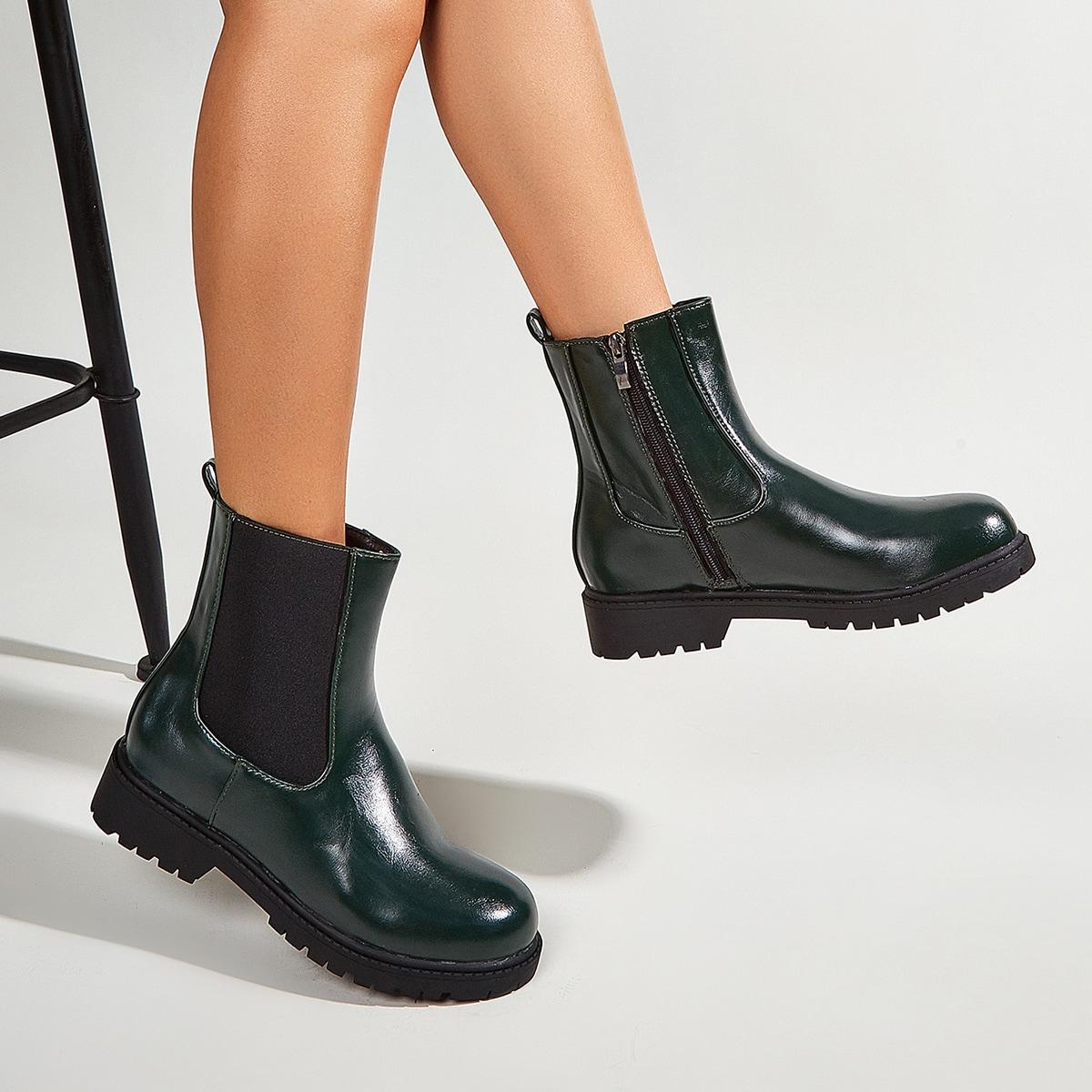 SHEIN / Minimalistischer Chelsea Stiefel mit seitlichem Reißverschluss