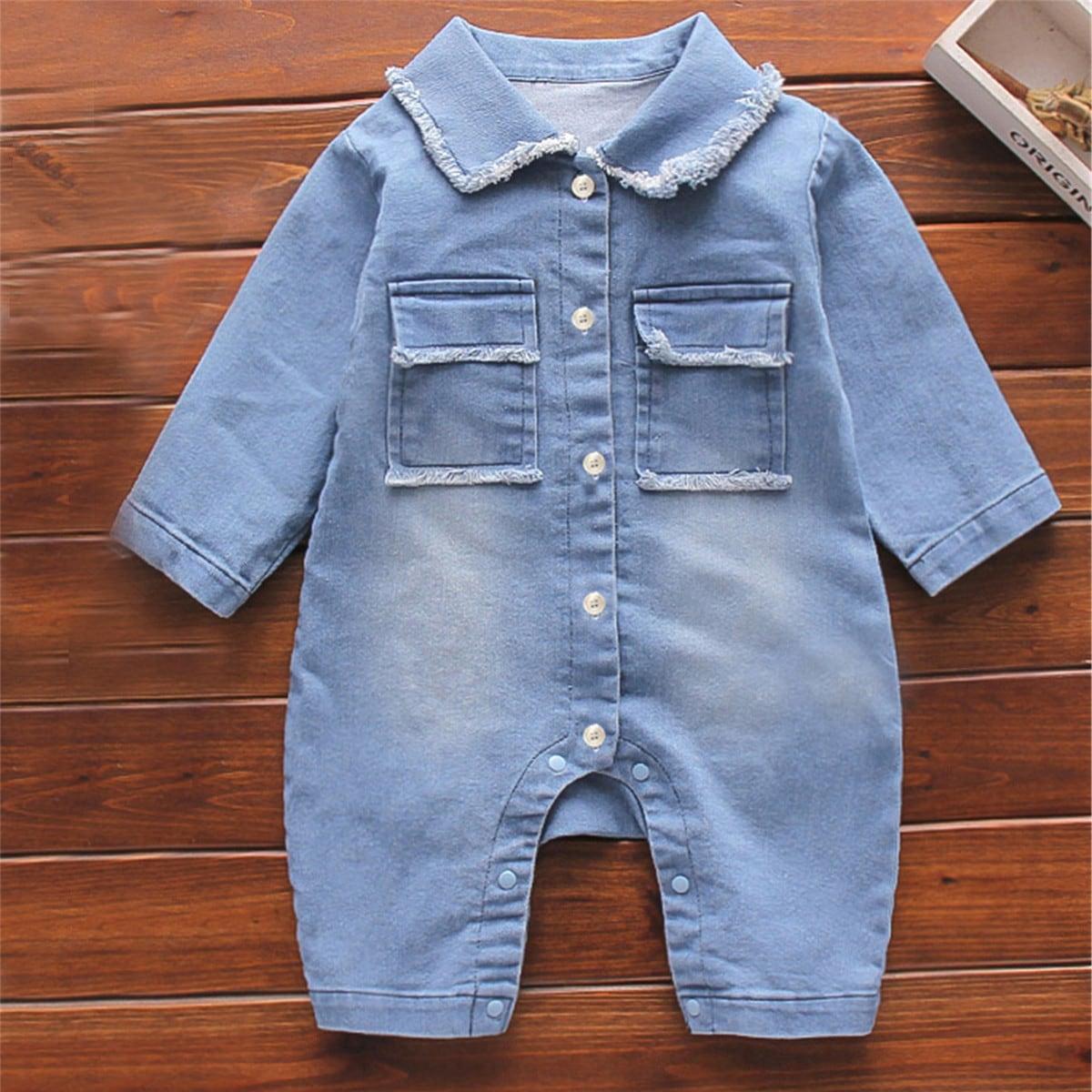 с карманами Одноцветный Деним для малышей от SHEIN