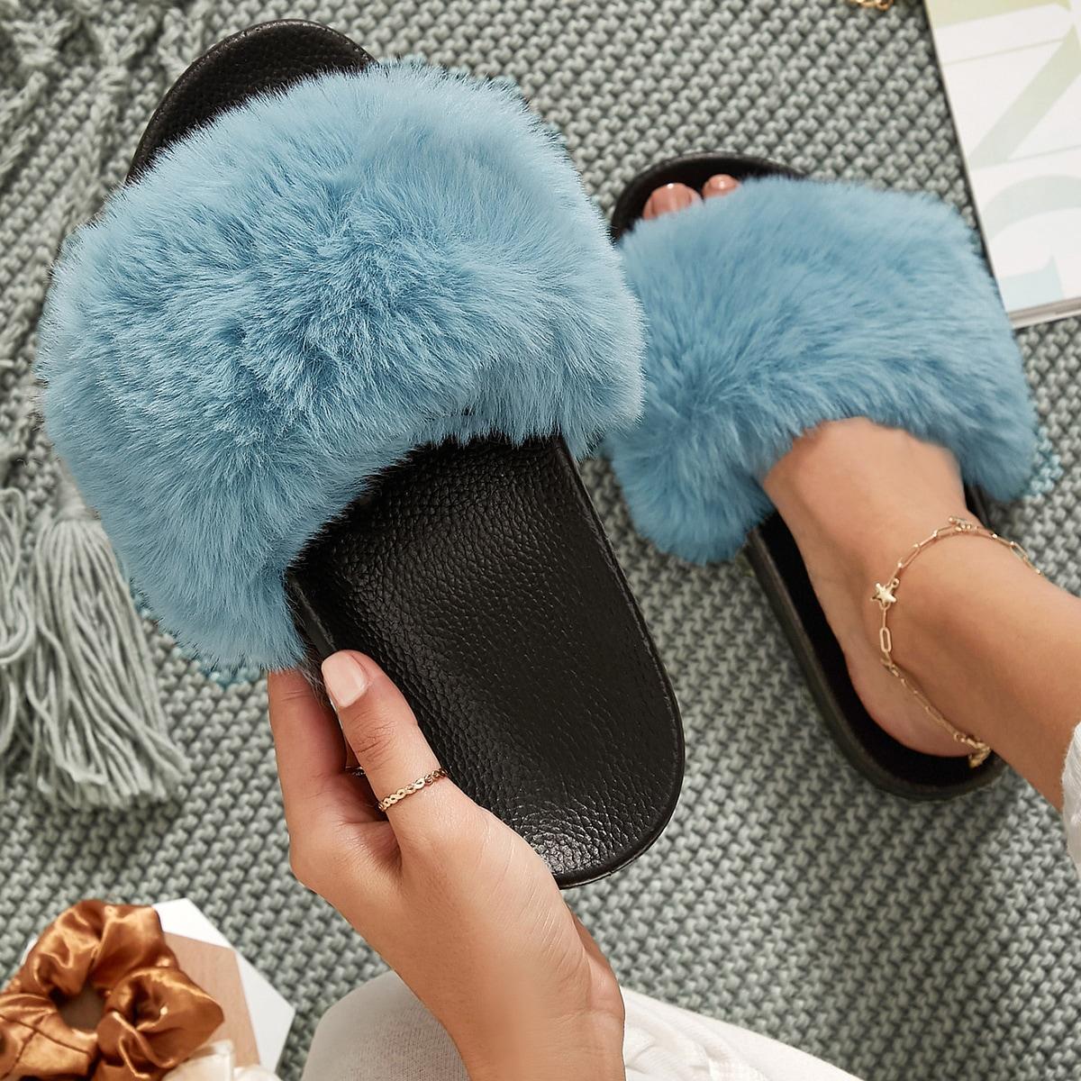 SHEIN / Fuzzy Faux Fur Vamp Open-Toe Slippers
