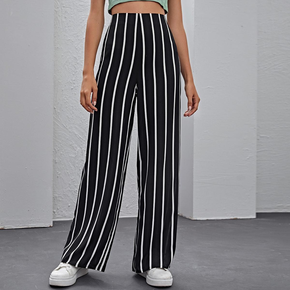 Pantalones de pierna ancha de rayas verticales