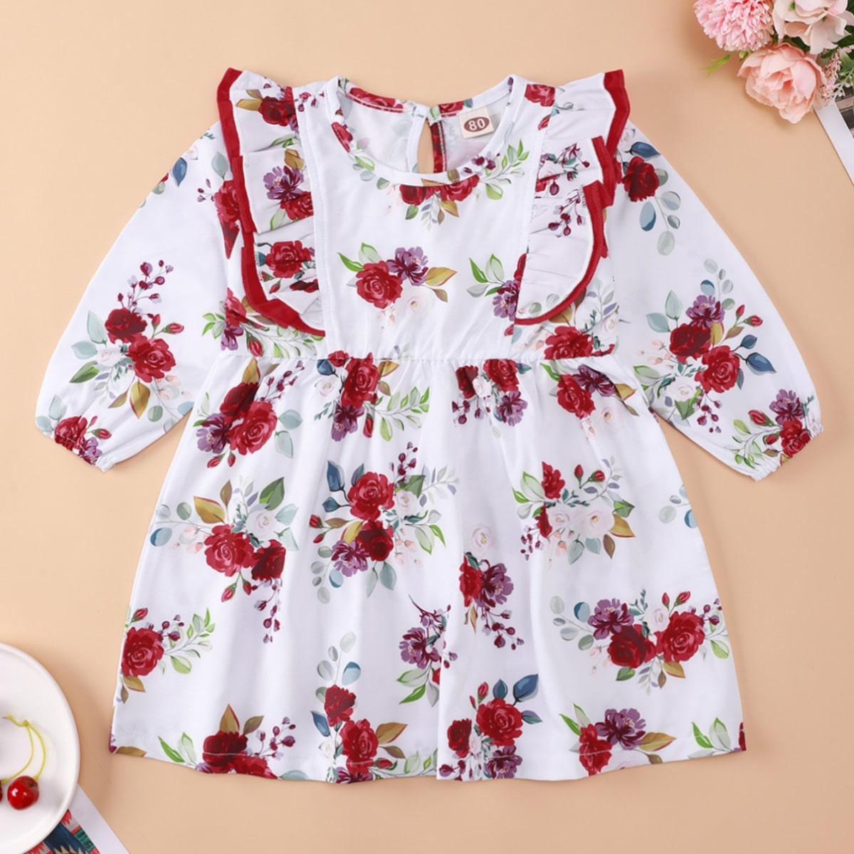 shein Boho Bloemen Baby-jurk Uitgeknipt