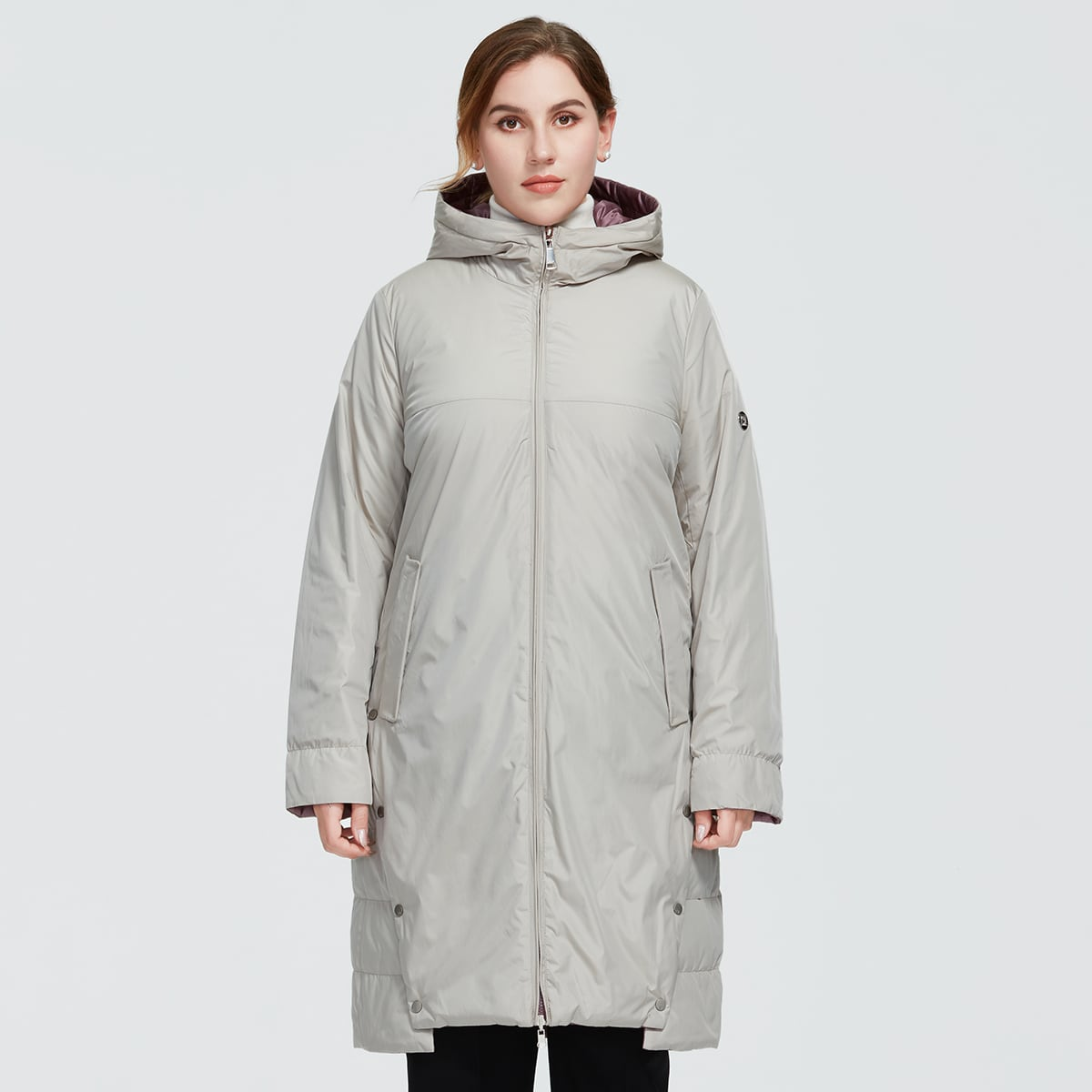Astrid Plus Button Side Drawstring Hooded Puffer Coat