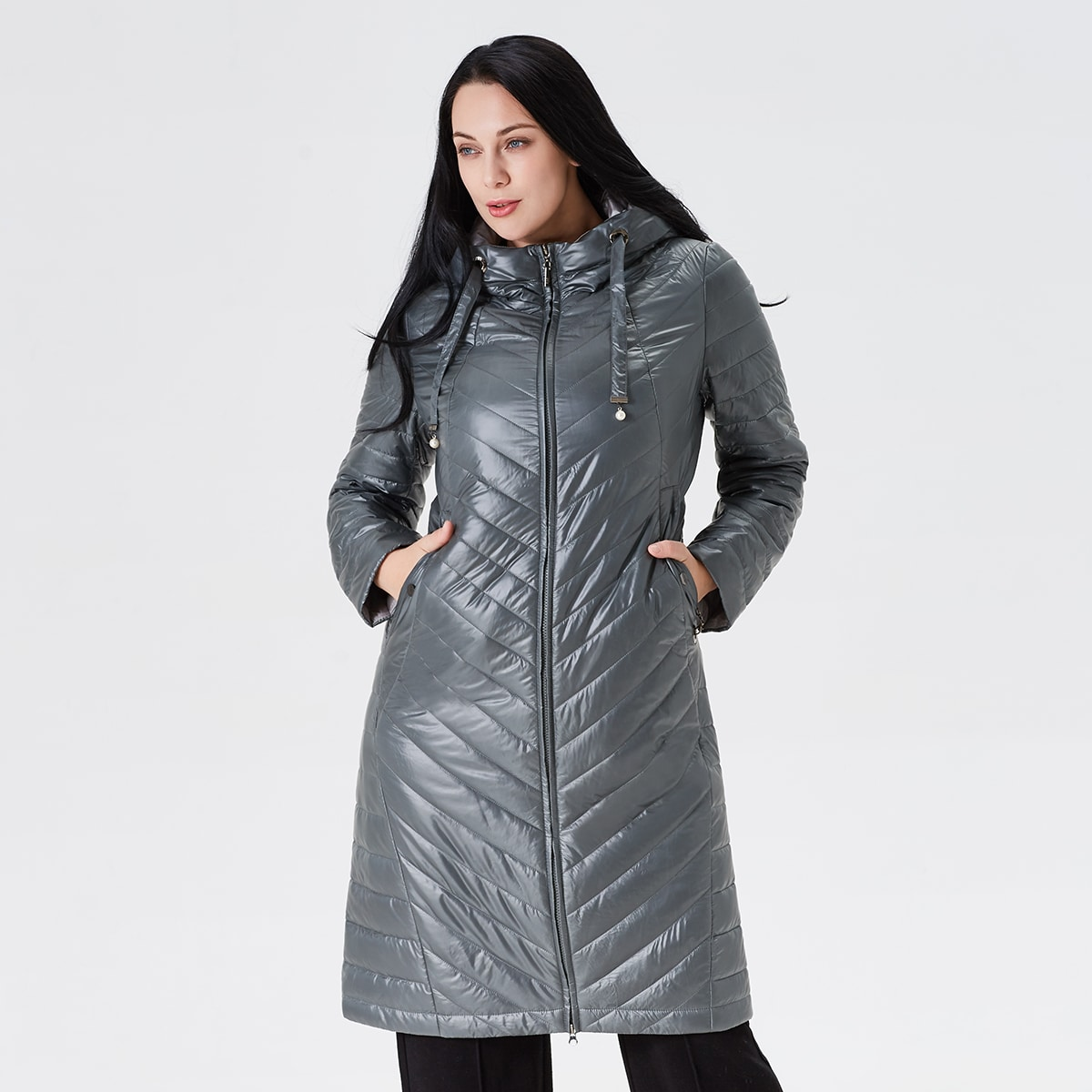 Astrid Plus Zip Up Hooded Padded Coat