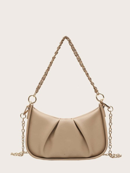 Ruched Chain Baguette Bag