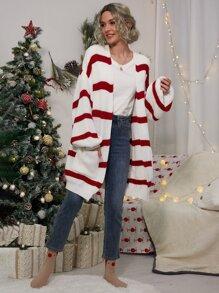 Christmas   Cardigan   Lantern   Stripe   Sleeve