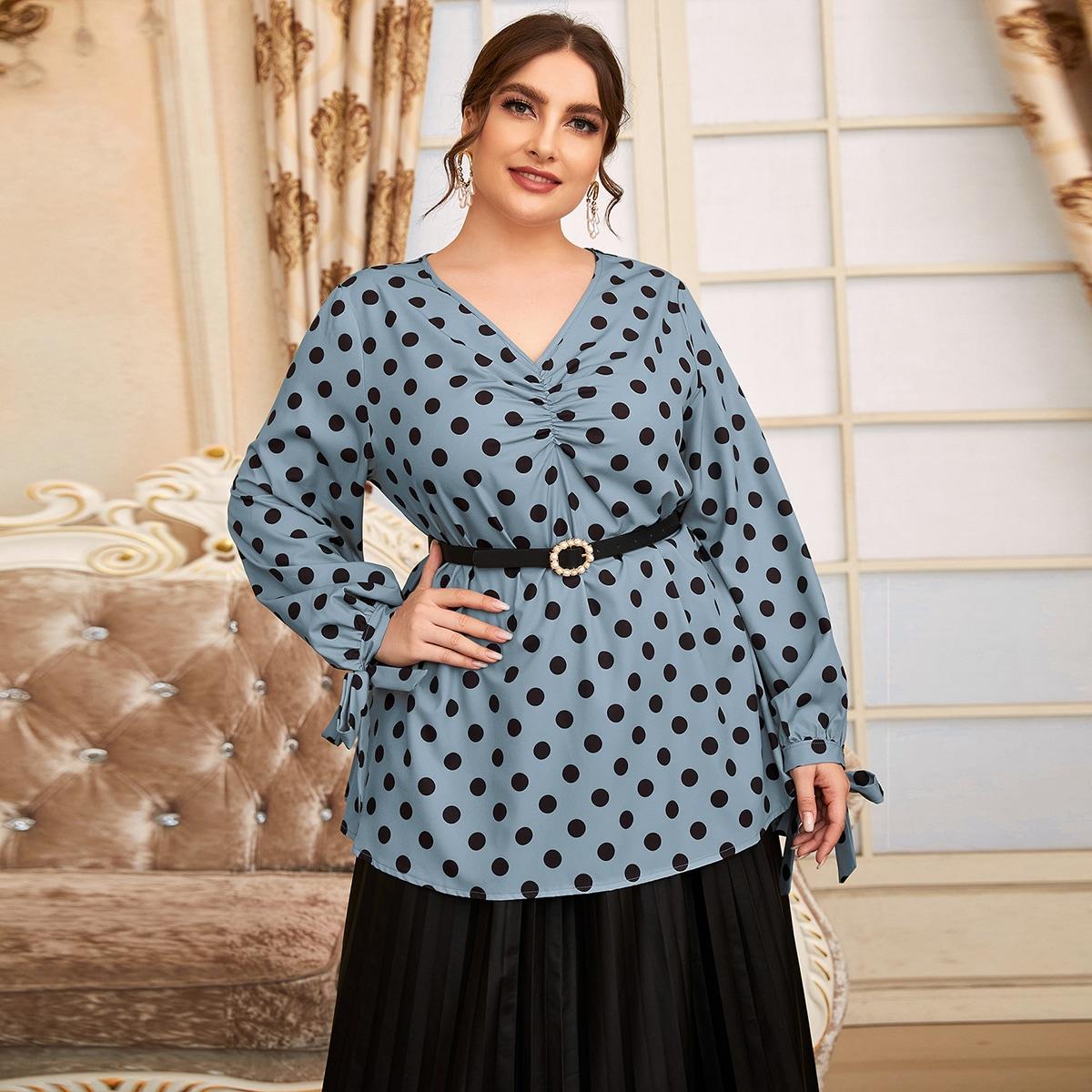 SHEIN / Bluse mit Punkten Muster, Rüsche vorn und Knoten ohne Gürtel
