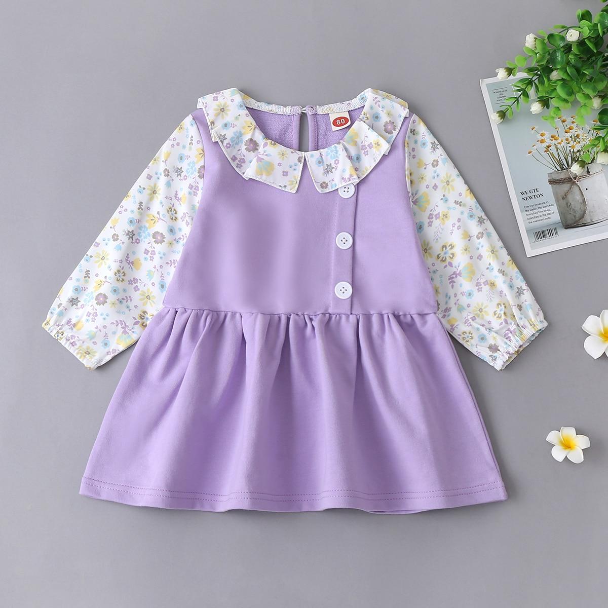 shein Casual Vrolijke Bloemetjes Baby-jurk Contracst kraag