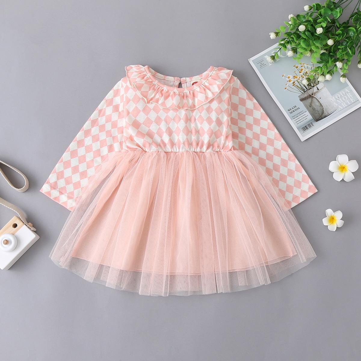 shein Schattig Gevlochten Baby-jurk Rimpeling