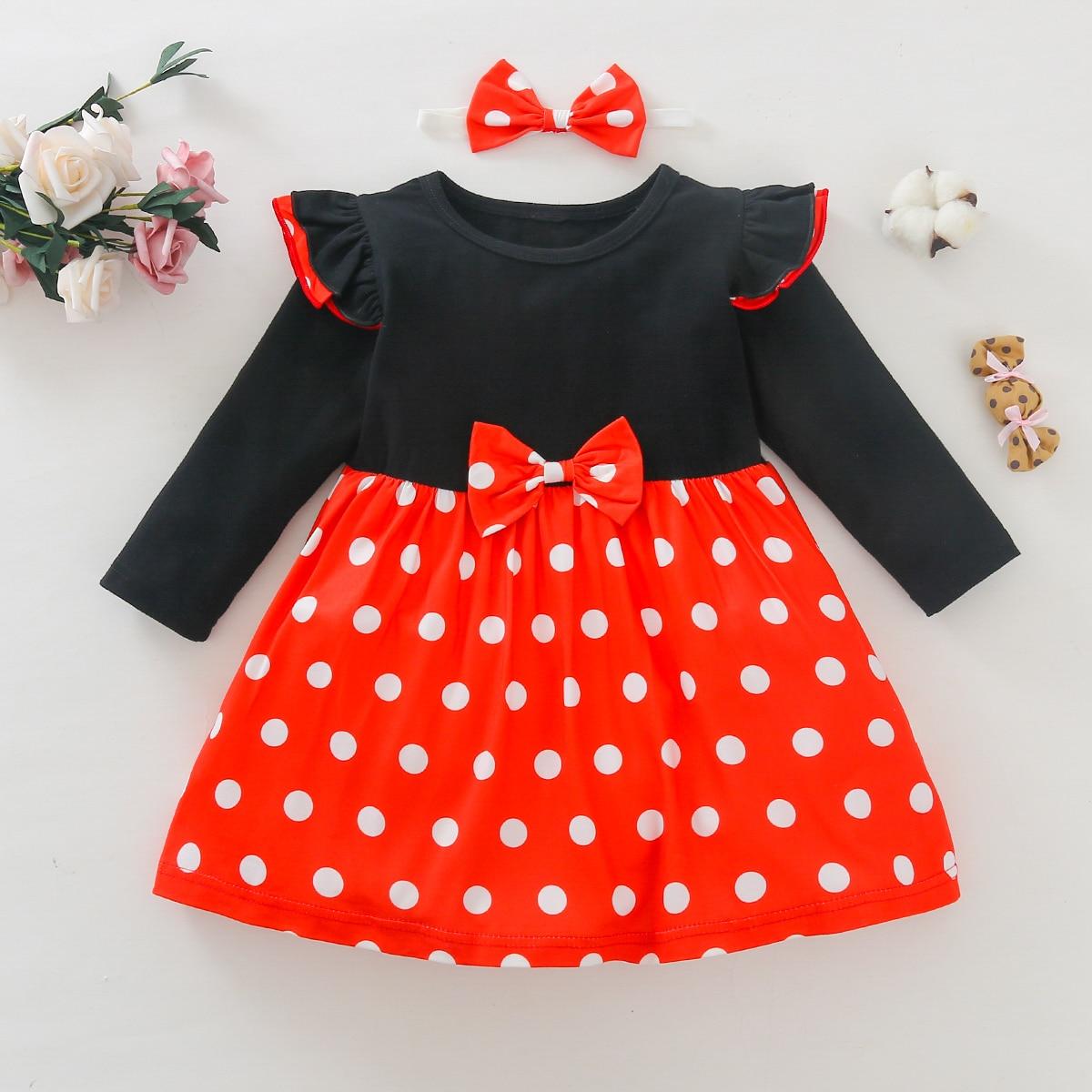 shein Casual Stippen Baby-jurk Boog