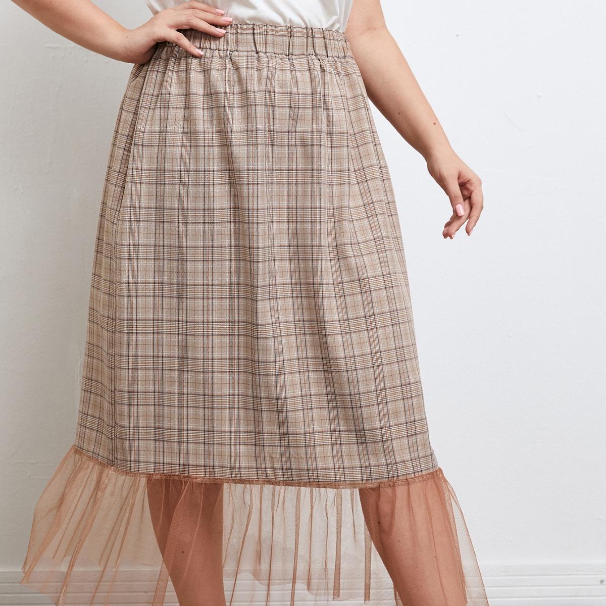 SHEIN / Plus Plaid Print Elastic Waist Contrast Mesh Skirt