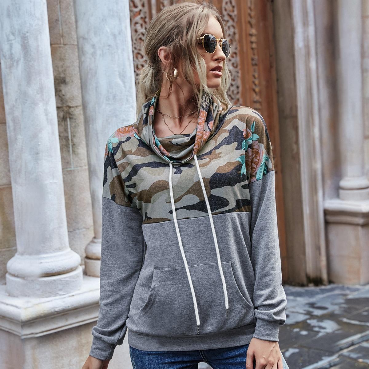 SHEIN / Hoodie mit Camo Muster und Känguru Tasche
