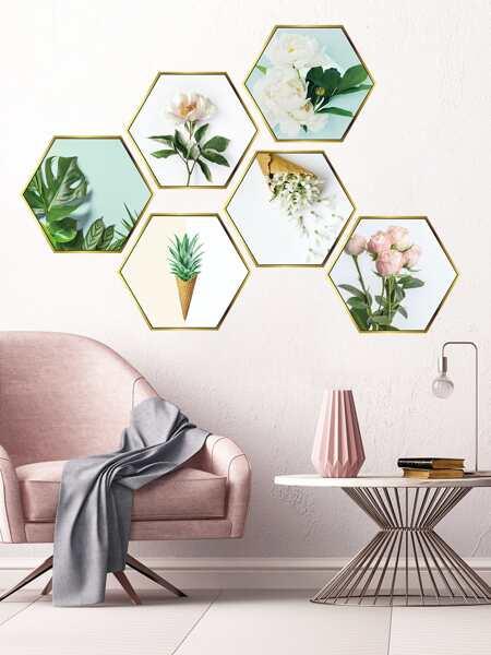 Flower Print Hexagon Wall Sticker