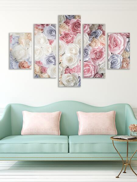 5pcs Flower Print Wall Painting Without Frame