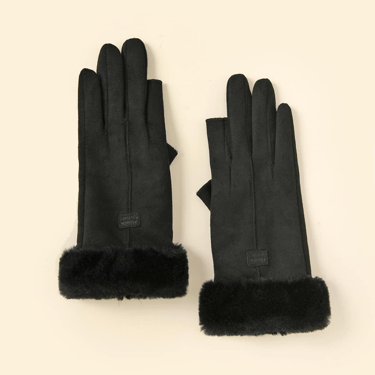 Перчатки с плюшевой отделкой