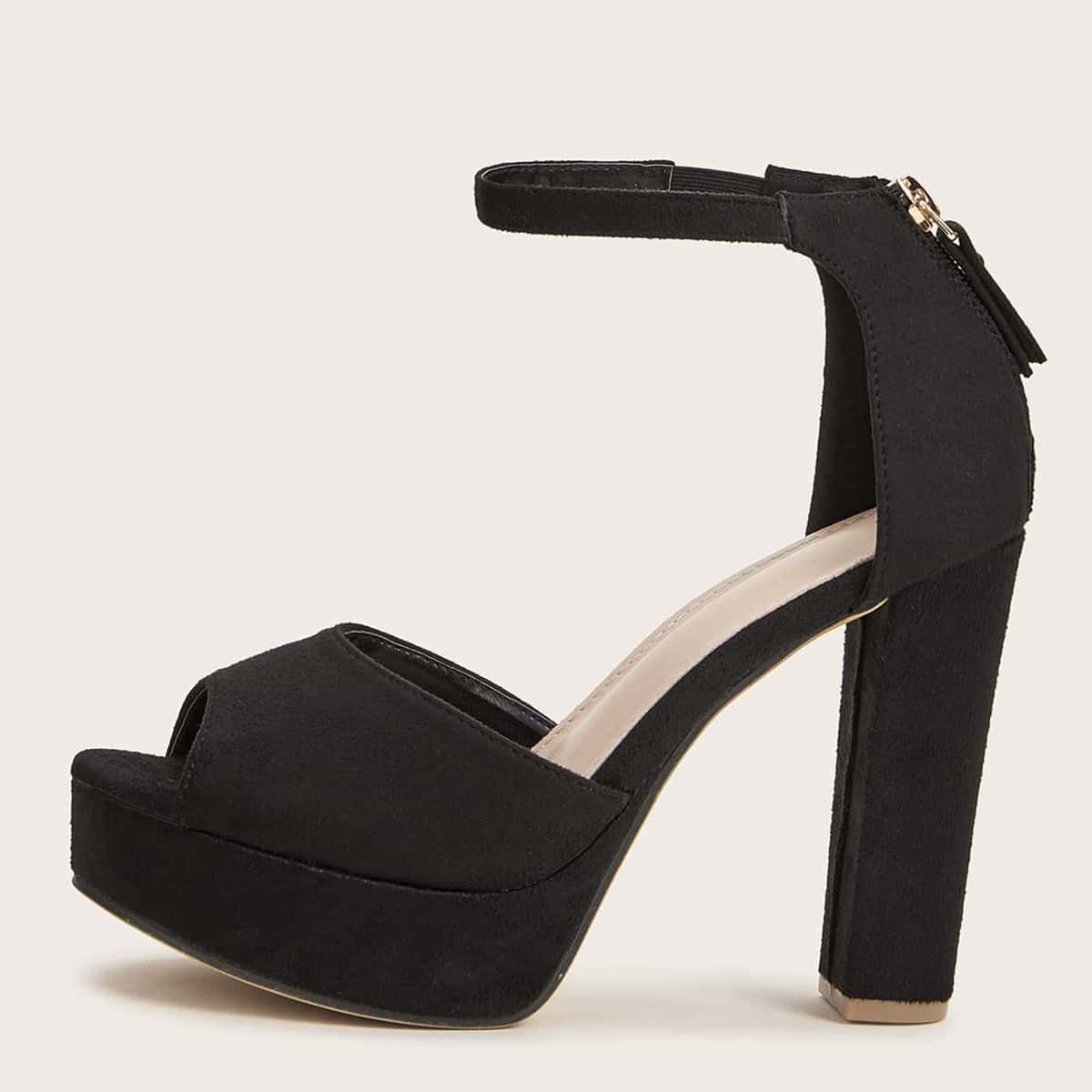 SHEIN / Back Zip Ankle Strap Chunky Heeled Suede Sandals