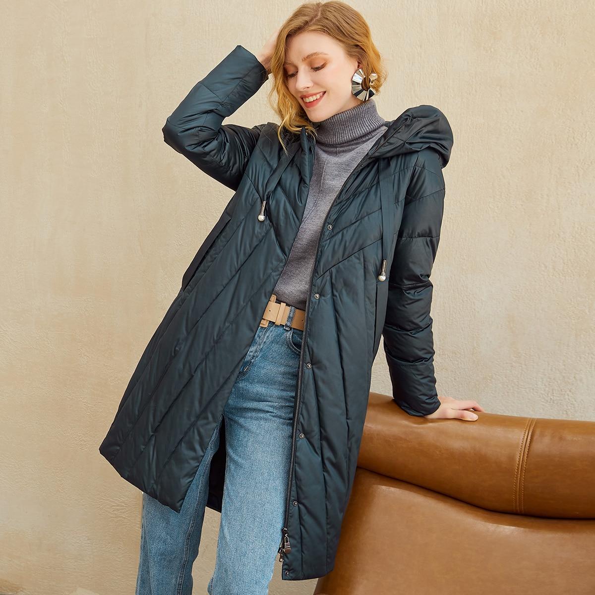 Zip Up Drawstring Hooded Padded Coat