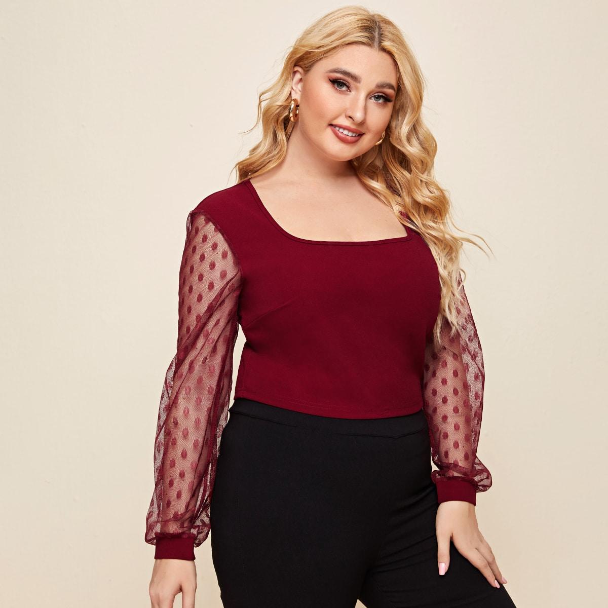 shein Elegant Stippen Grote maat blouse Zeeg