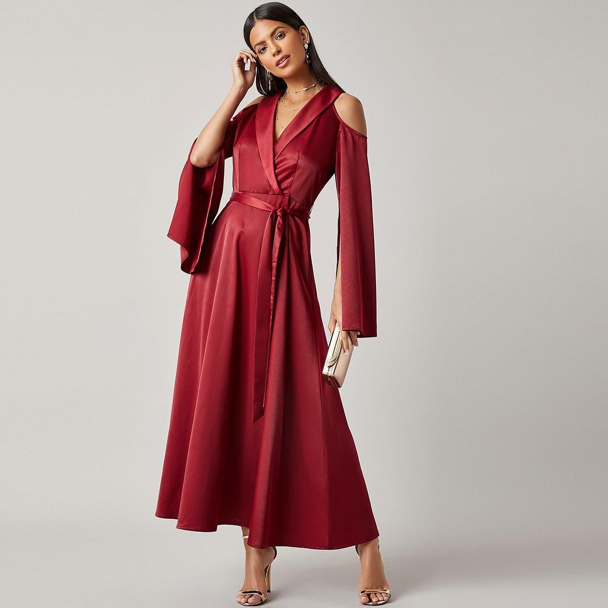 SHEIN / Satin schulterfreies Kleid mit Schalkragen, Schlitz an Ärmeln und Gürtel