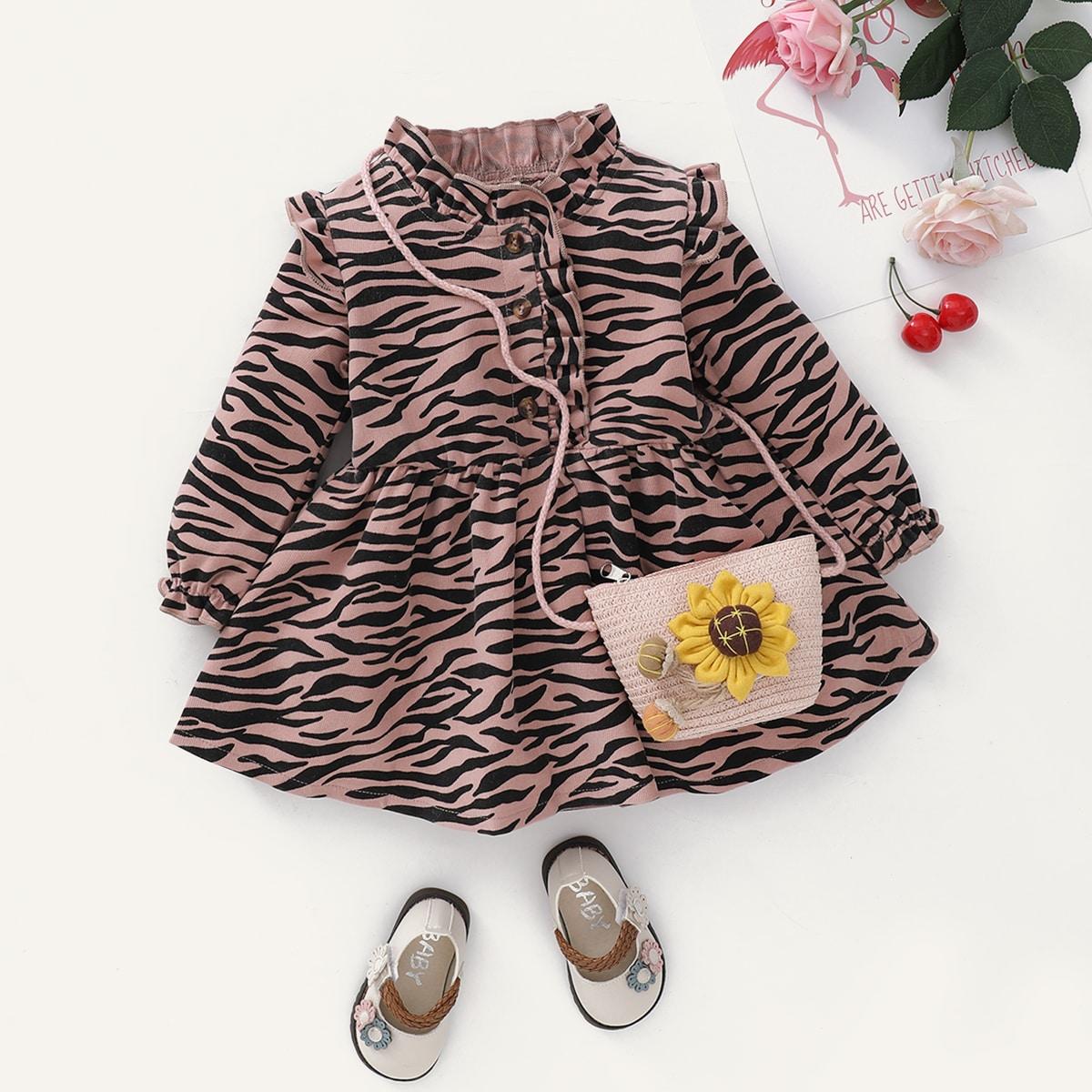 shein Schattig Zebra print Baby-jurk Rimpeling
