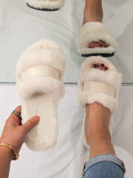 Minimalist Wide Fit Fluffy Slippers