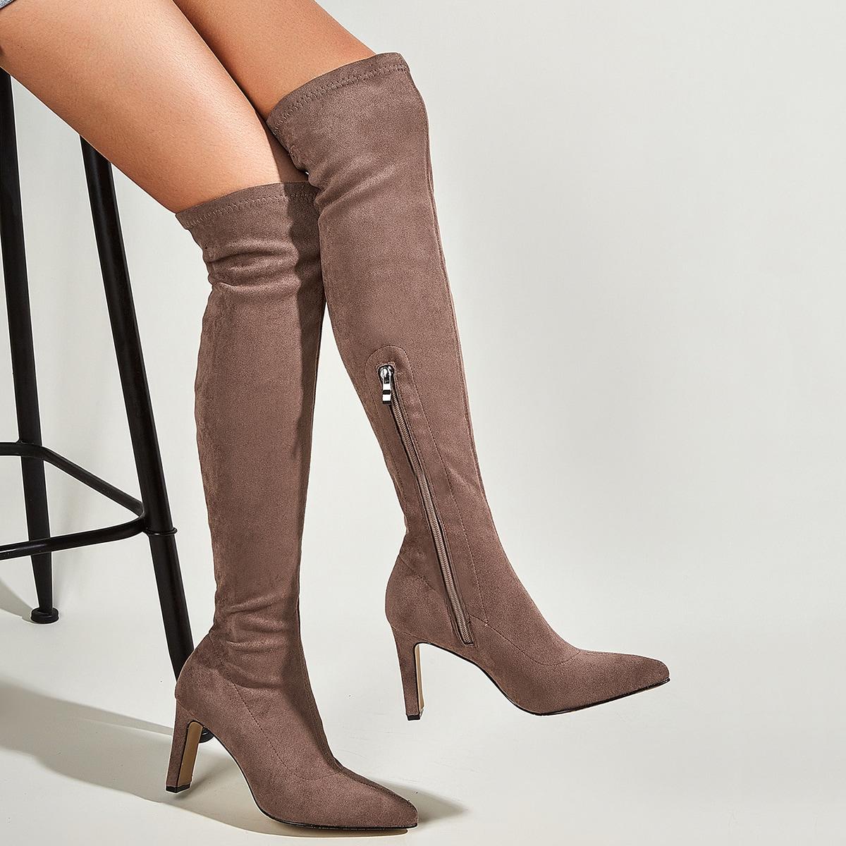SHEIN / Minimalistische Stiefel mit Reißverschluss und klobiger Sohle