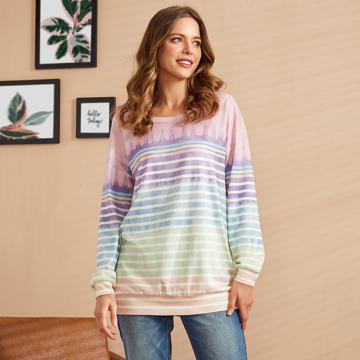 SHEIN / LUUKSE Drop Shoulder Striped Ombre Sweatshirt