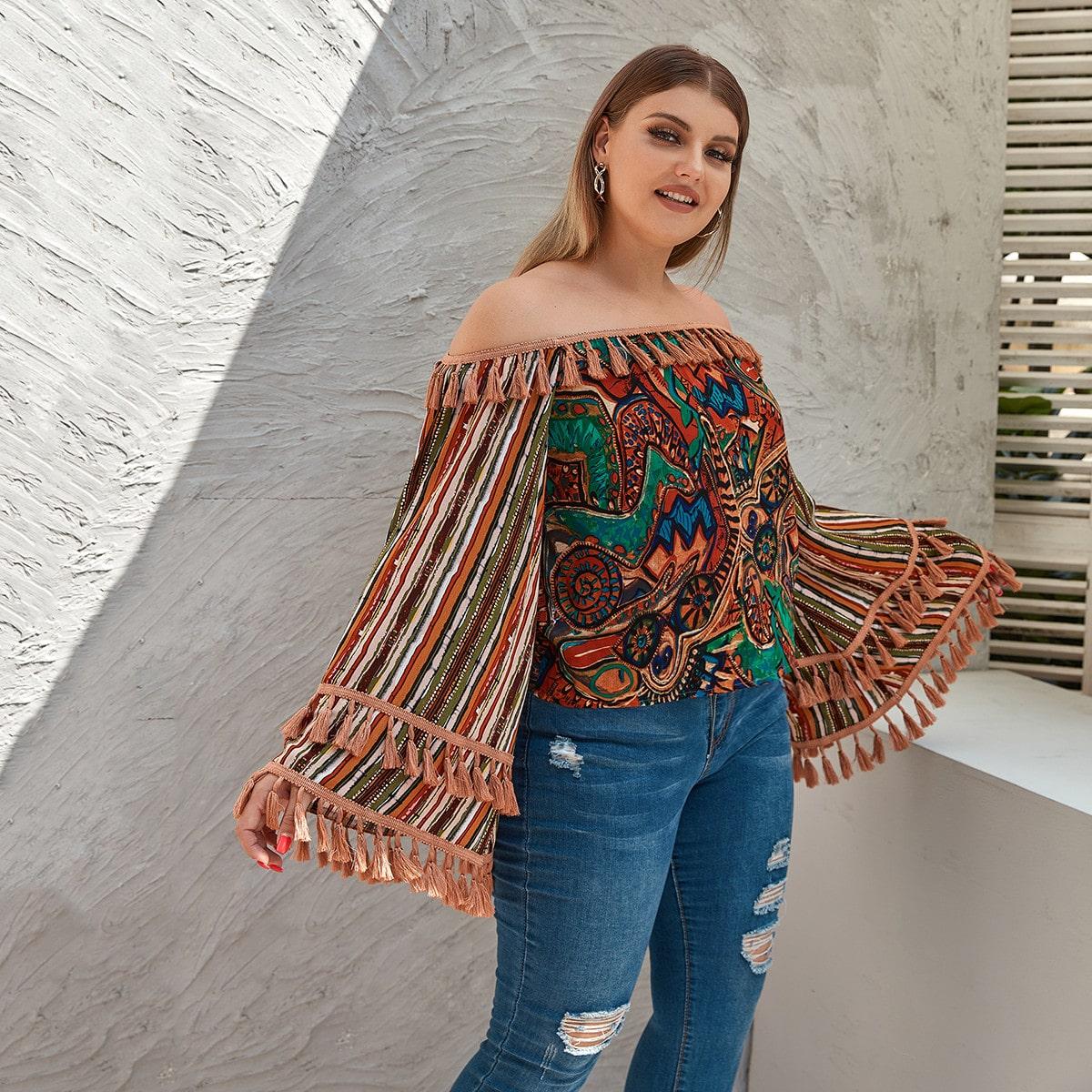 SHEIN / Schulterfreie Bluse mit Grafik, Streifen und Quasten
