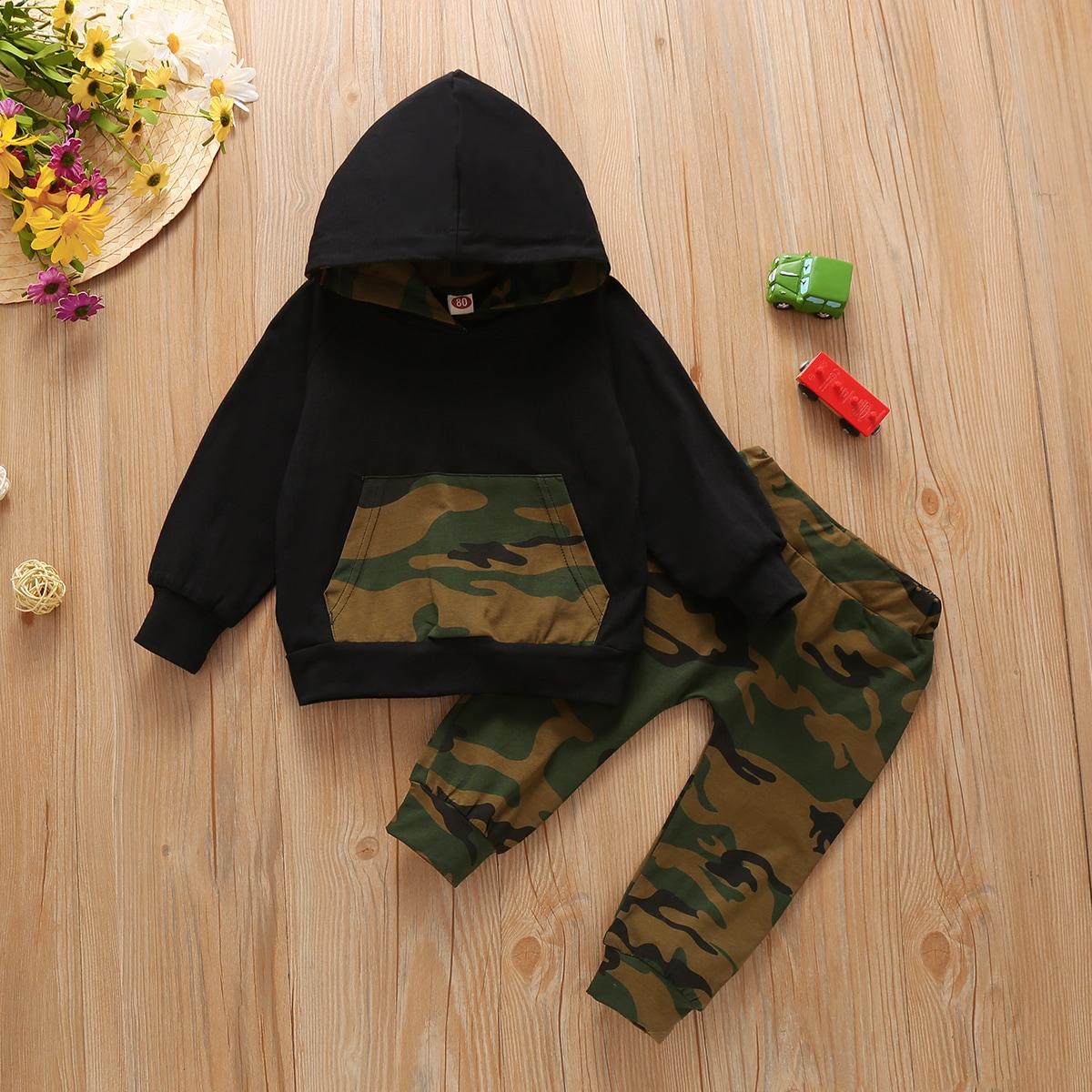 shein Casual Camouflage Baby-setjes Zak