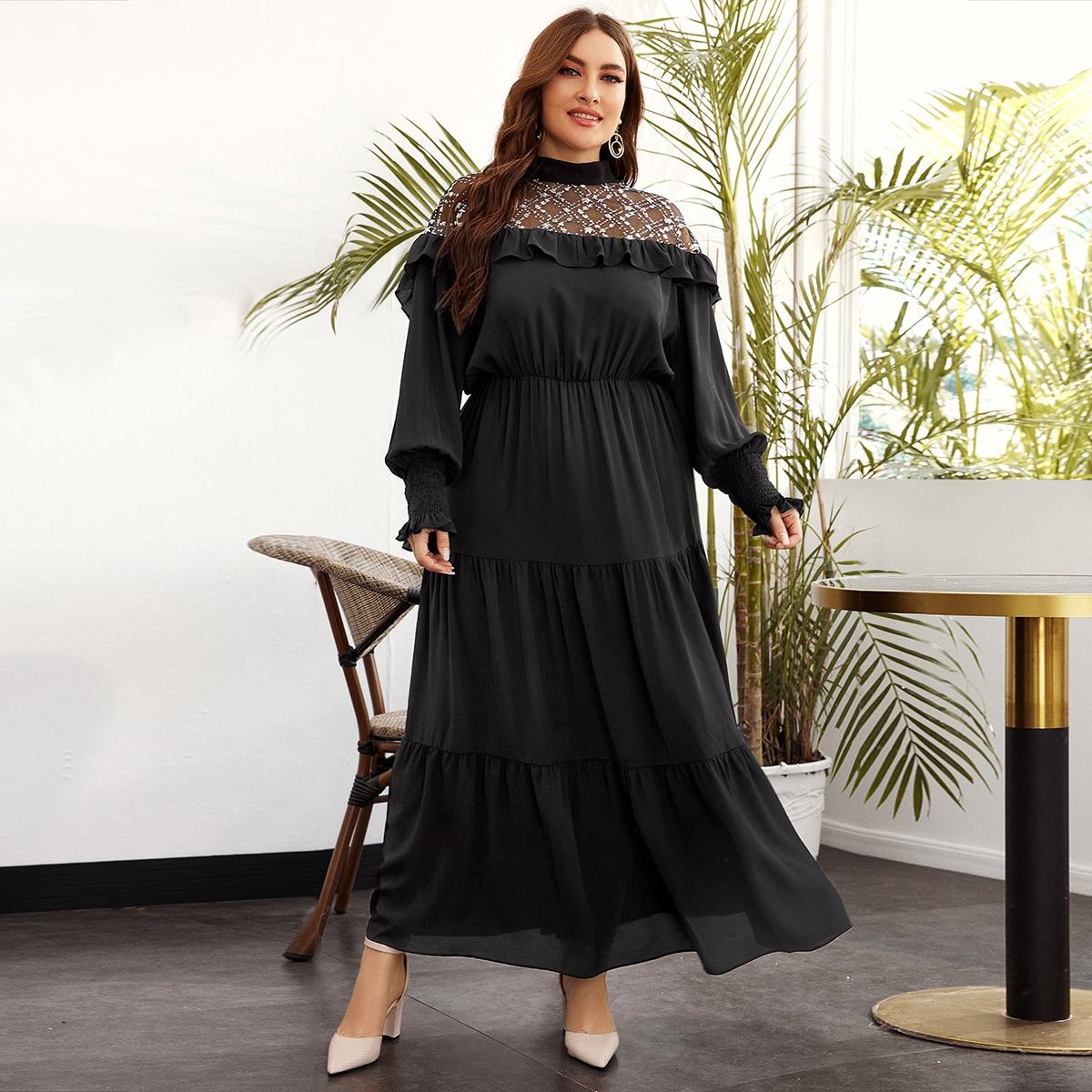 SHEIN / Kleid mit Pailletten Detail und transparenten Netzstoff