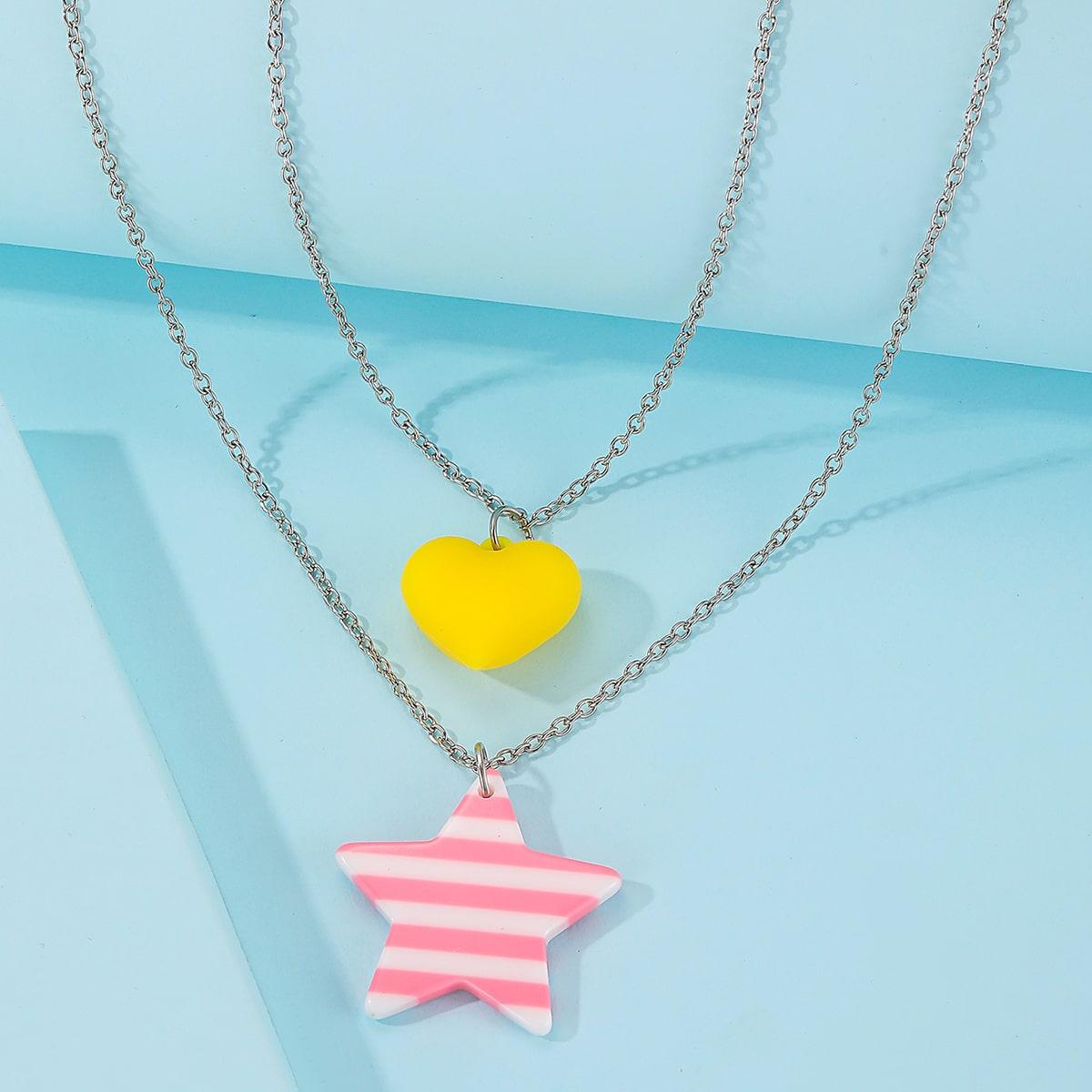 SHEIN / Mehrschichtige Halskette mit Stern & Herzen Anhänger