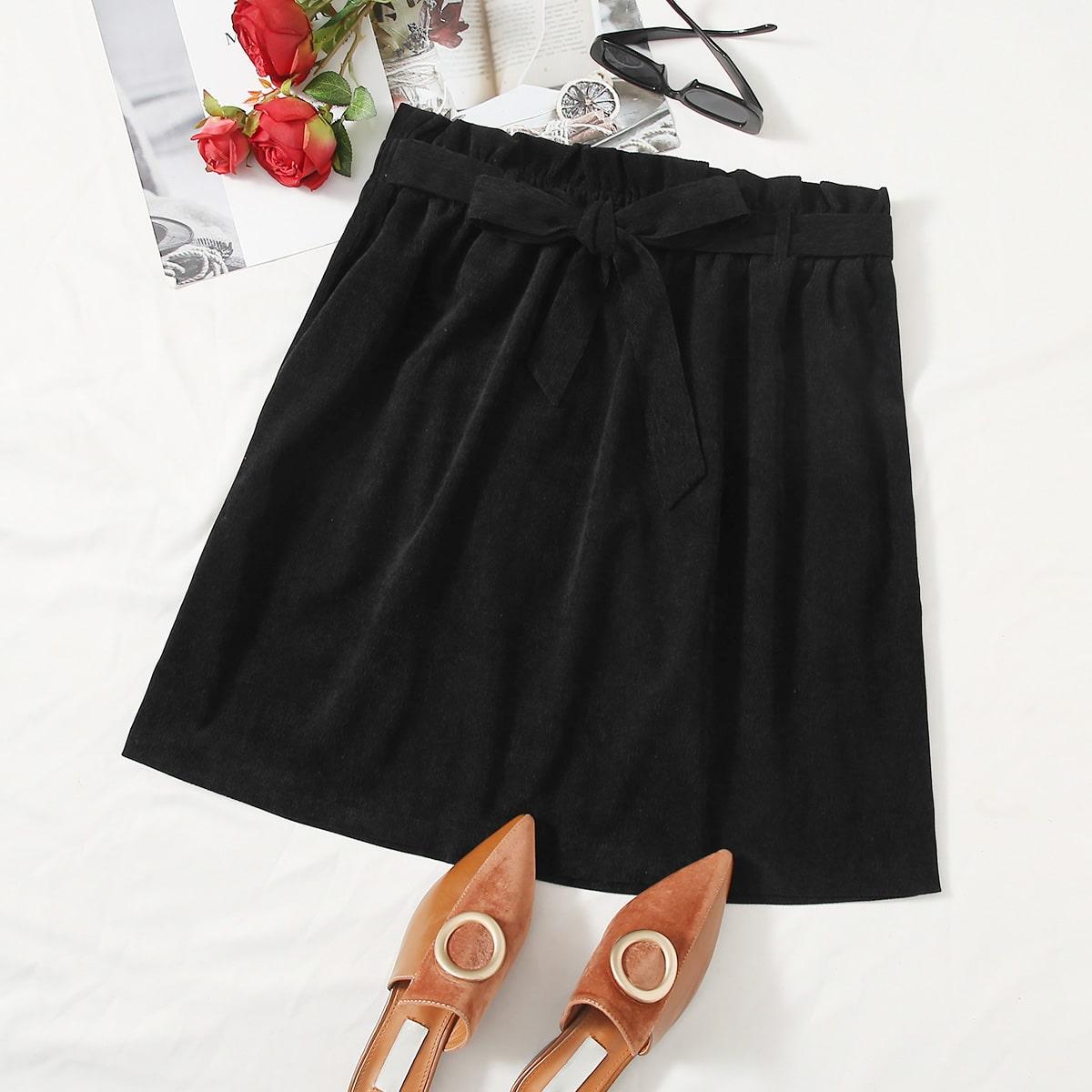 SHEIN / Plus Paperbag Waist Belted Corduroy Skirt