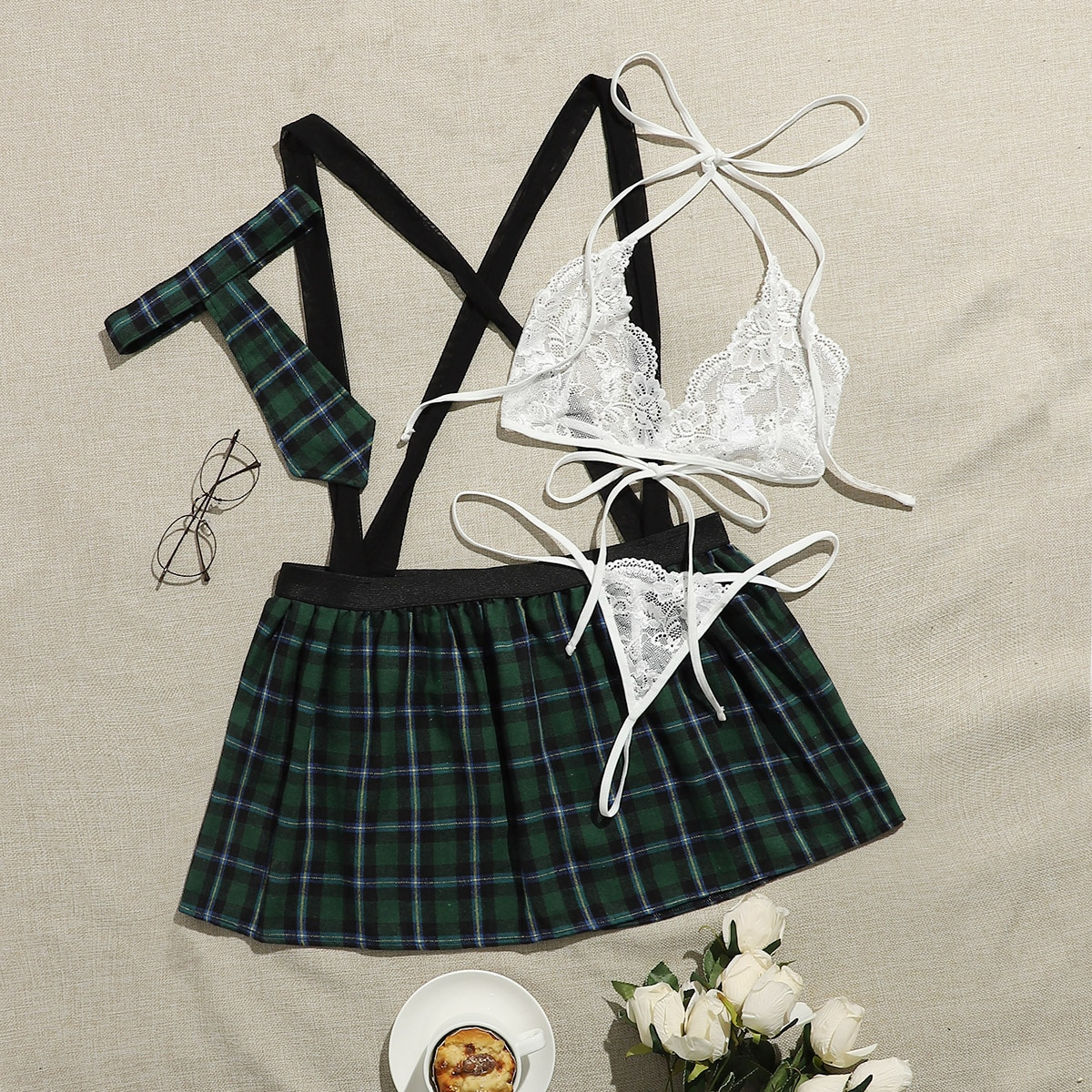 SHEIN / 4pack Plus Tartan Lace School Costume Set