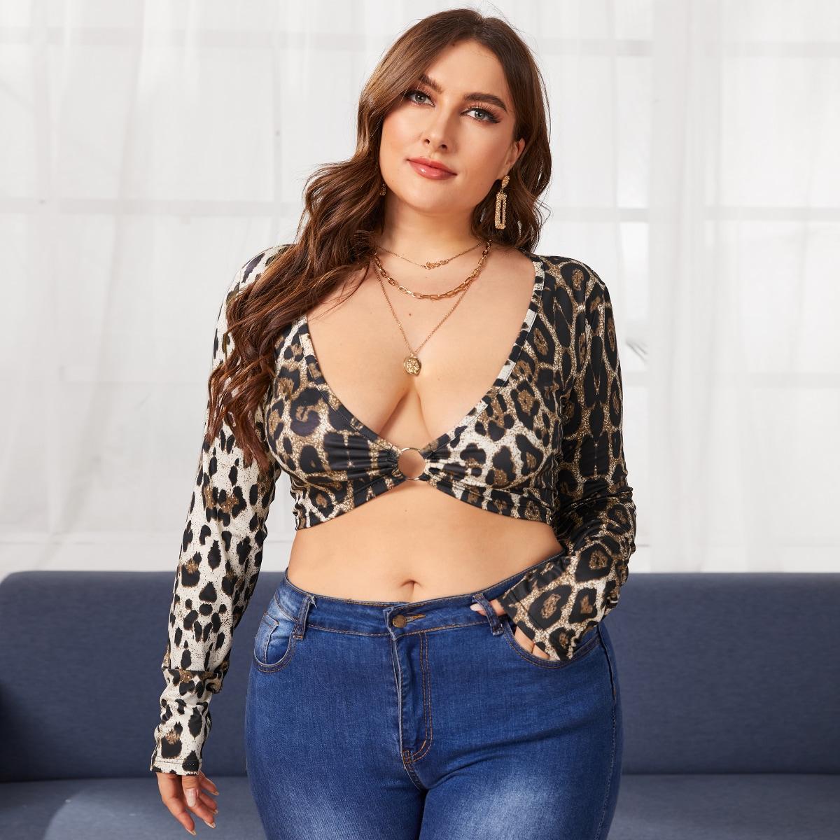 Многоцветный Галстук на спине Леопард Сексуальный Женские топы размер плюс от SHEIN