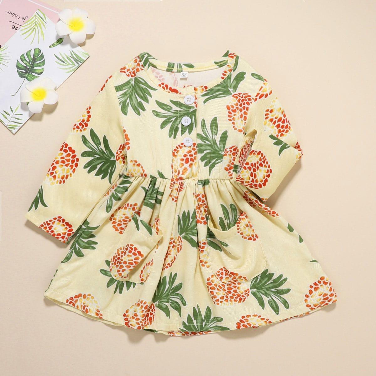 shein Casual Planten Baby-jurk Knoop