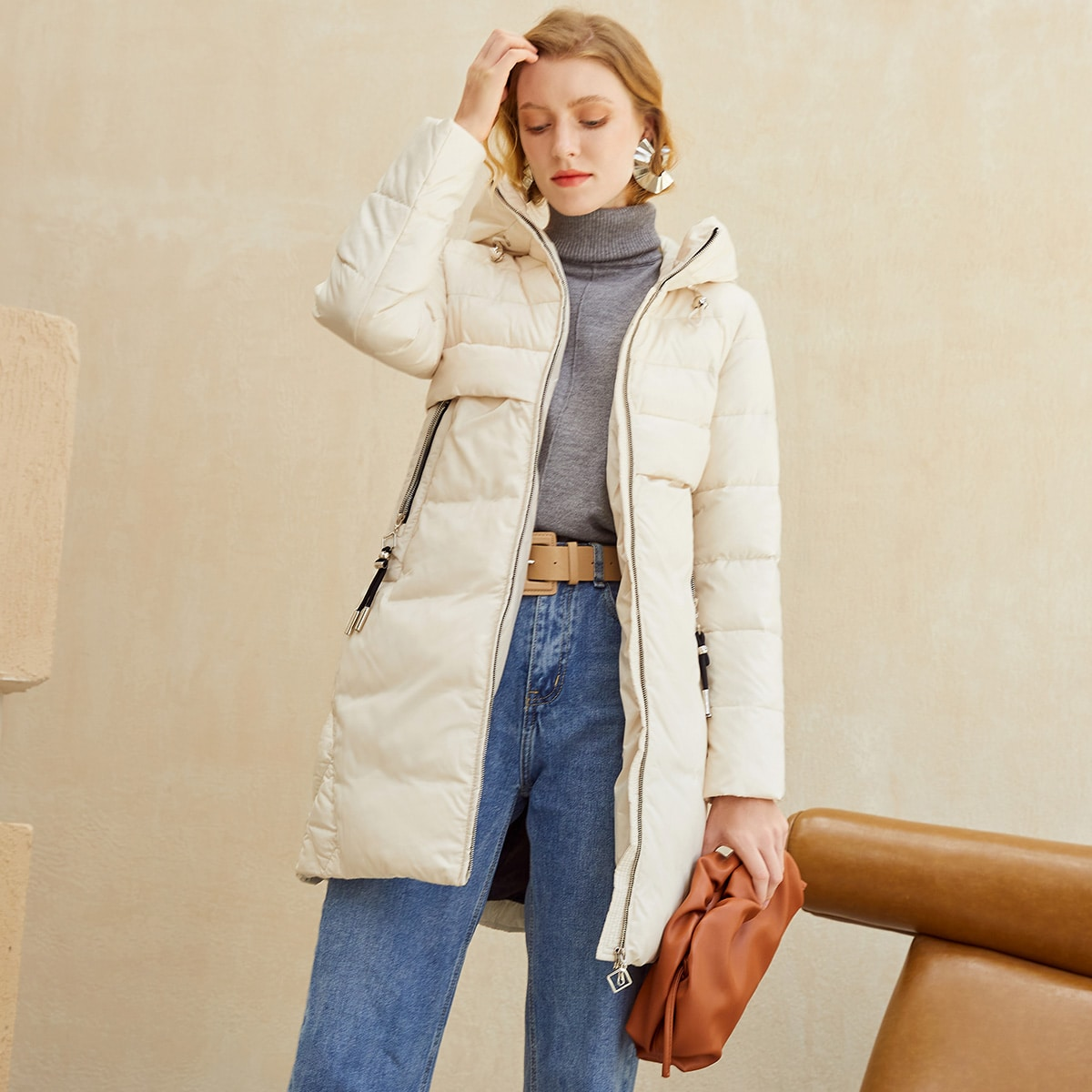 Zip Up Drawstring Hooded Quilted Puffer Coat