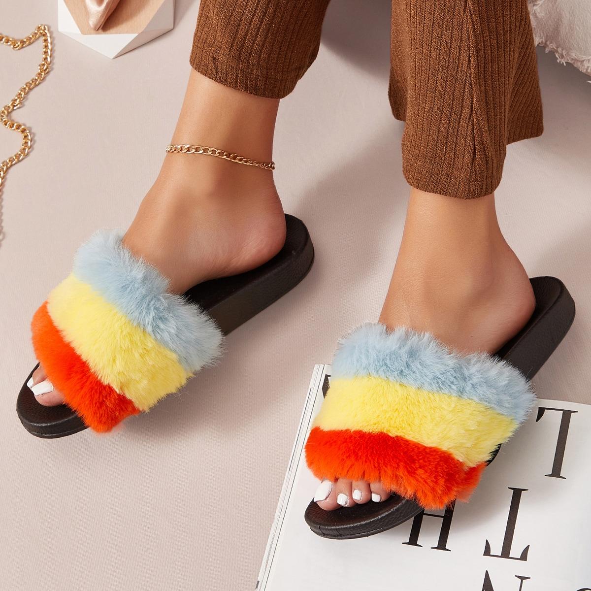 SHEIN / Tie-Dye Faux Fur Vamp Slide Sandals