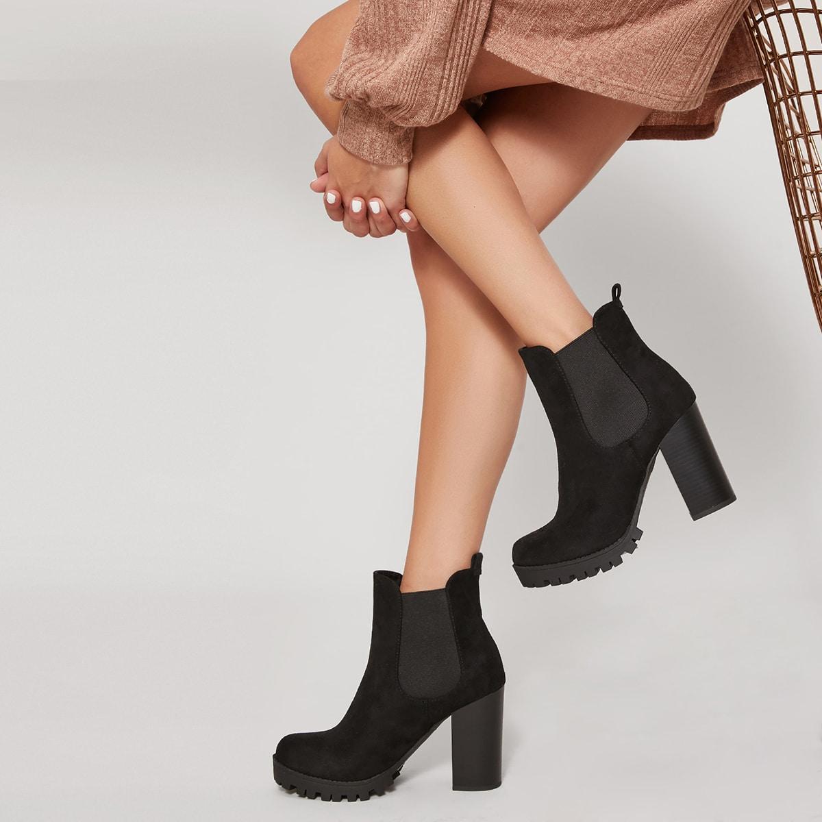 SHEIN / Chelsea Stiefel mit künstlichem Wildleder und Blockabsatz