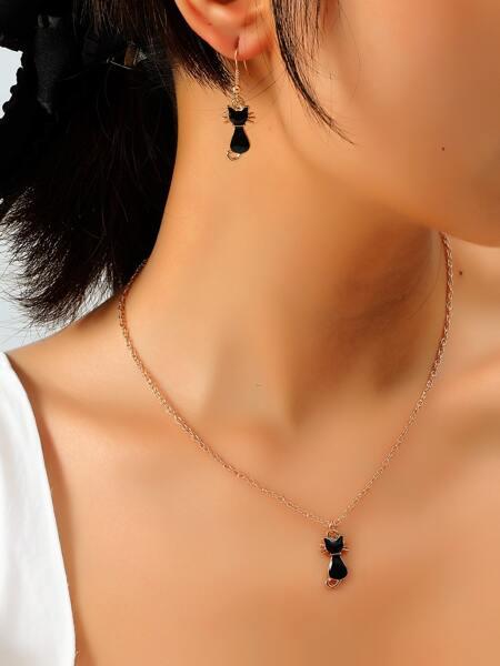 1pc Cartoon Cat Pendant Necklace & 1pair Earrings