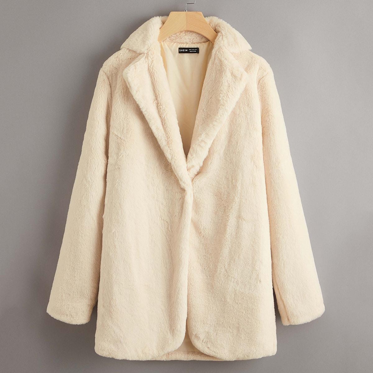 Однотонное пальто из искусственного меха