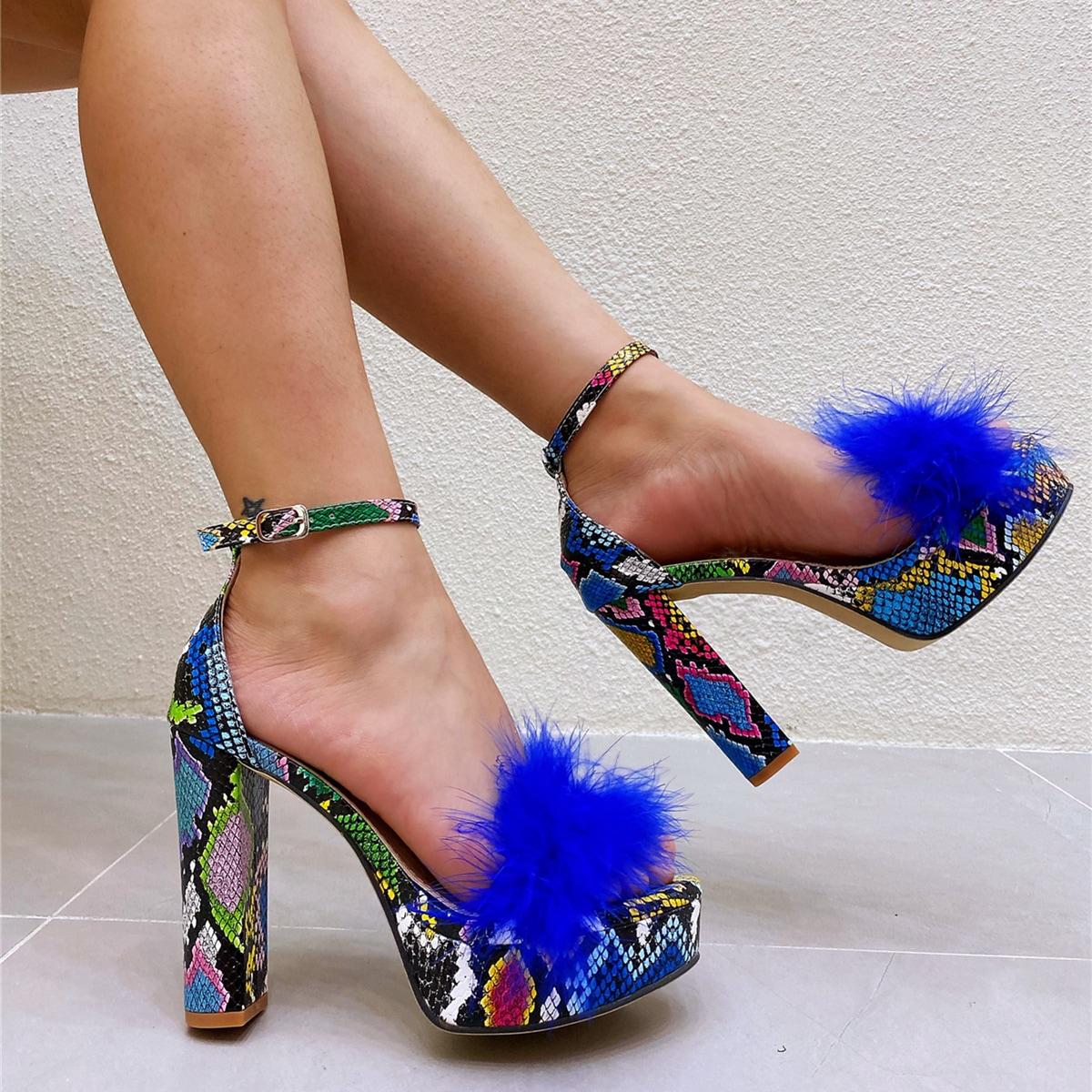 SHEIN / Faux Fur Decor Snakeskin Chunky Heeled Sandals