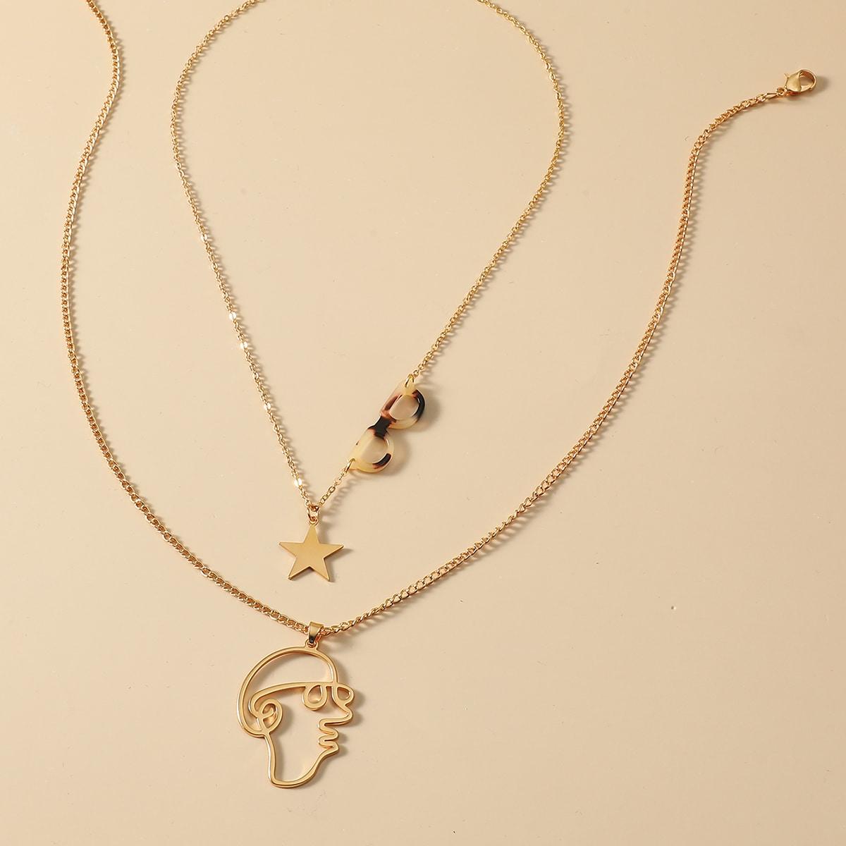 SHEIN / 2 Stücke Halskette mit Figur & Stern Dekor