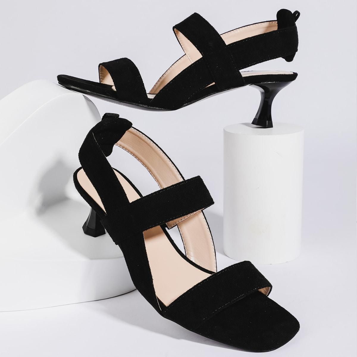 SHEIN / Open Toe Spool Heeled Slingback Suede Sandals