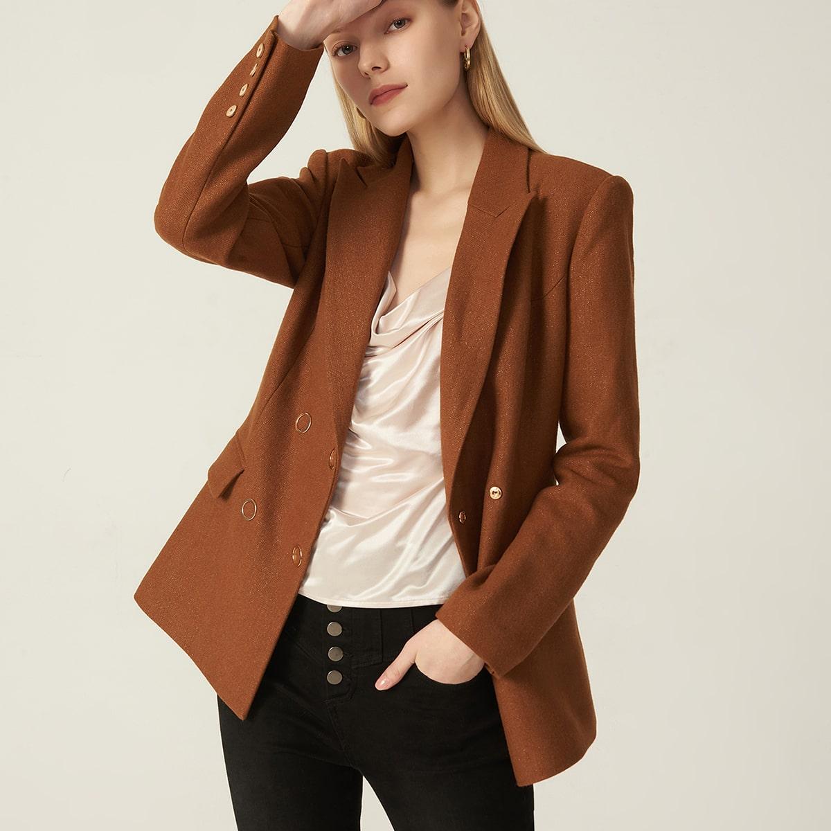Двубортный пиджак из смесовой шерсти от SHEIN
