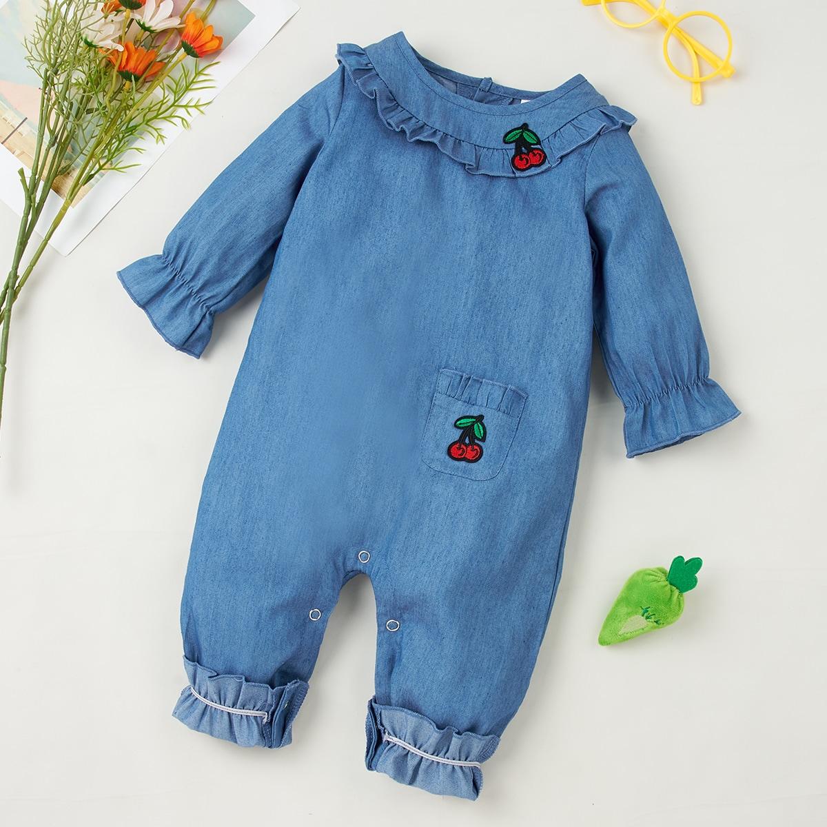с вышивкой Фрукты и овощи Деним для малышей от SHEIN